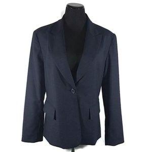 Neiman Macus Wool Blend Button Front Blue Blazer